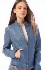 Hakiki Deri DIANA-2 Denim Mavi Kadın Deri Ceket