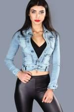 Kadın Cep Detay Mavi Kot Ceket CKT009218563