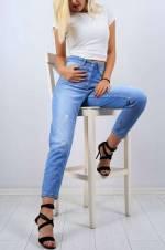 Kadın Mavi Açık Mom Kot Pantolon 9769B
