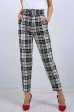 Kadın Beyaz Desenli Kemerli Kumaş Pantolon10838Bg