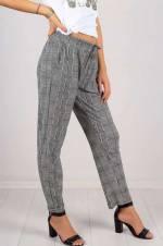 Kadın Beyaz Desenli Kumaş Pantolon 4471
