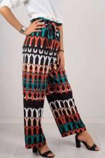 Kadın Siyah Desenli Kumaş Pantolon 4864